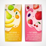 Fruits banners vertical. Fresh natural fruit food vertical banners set with pear apple apricot isolated vector illustration Stock Images