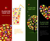 Fruits banners vertical for your design. Vector Stock Photos