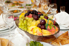 Fruits at banquet table Royalty Free Stock Image