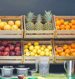 Fruits bar. Fresh fruits in crates at juice bar Stock Images