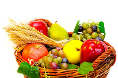 Fruits in basket Stock Photos