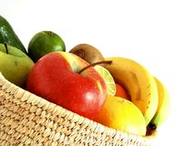 Fruits basket. Close up of a basket with fresh fruits inside Royalty Free Stock Photos