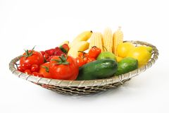 Fruits in basket. Various fruit and vegeatbles in basket stock photo