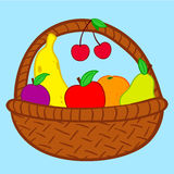 Fruits in basket doodle. Colorful fruits in basket doodle stock illustration