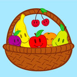 Fruits in basket doodle face smile. Colorful fruits in basket doodle face smile royalty free illustration
