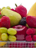 Fruits in a basket royalty free stock photos
