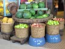 Fruits in basket at market. Display Stock Image