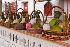 Fruits in basket on shelves tilted left Royalty Free Stock Photography