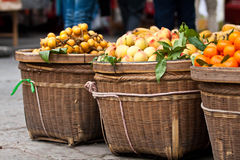 Fruits in baskets Royalty Free Stock Photography