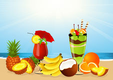 Fruits on the beach Stock Photos