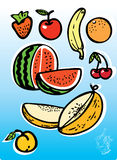 Fruits and berries 1. Vector fruits, berries, fresh, color stock illustration