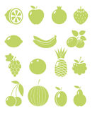 Fruits and berries. A set of fruit and berries vector icons Stock Photography