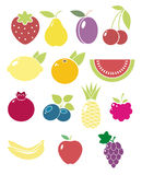 Fruits and berries. A set of fruit and berries vector icons Royalty Free Stock Image
