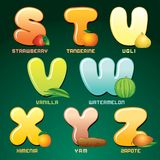 Fruits And Berries In Alphabetical Order. Vector Stock Photography