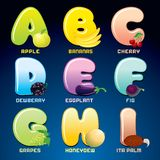 Fruits And Berries In Alphabetical Order. Vector Royalty Free Stock Images