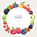 Fruits berries background round Stock Photos