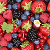 Fruits berries background with strawberries, blueberries and red Royalty Free Stock Photo