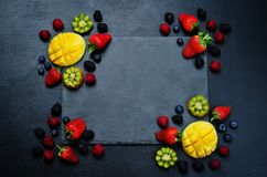 Fruits and berries Black Frame Stock Photos