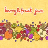 Fruits and berries border horizontal Stock Photo