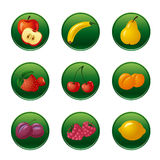 Fruits and berries button set Royalty Free Stock Image