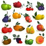 Fruits and Berries Collection Stock Photo