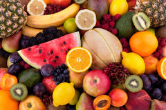 Fruits and berries. Collection of different fruits and berries stock photos