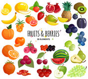 Fruits Berries Composition Background Poster stock illustration