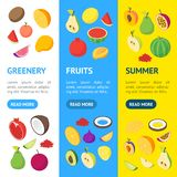 Fruits and Berries 3d Banner Vecrtical Set Isometric View. Vector vector illustration