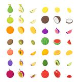 Fruits and Berries 3d Icons Set Isometric View. Vector. Fruits and Berries 3d Icons Set Isometric View Whole and Slices Raw Ripe Fruit. Vector illustration of Stock Photos