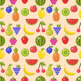 Fruits and berries flat icons seamless pattern Royalty Free Stock Images