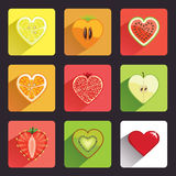 Fruits and berries flat icons set Stock Photo