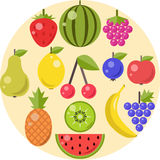 Fruits and berries flat icons Royalty Free Stock Photography