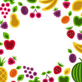 Fruits and berries frame. Royalty Free Stock Image