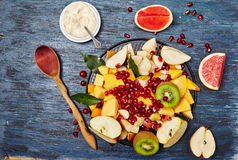 Fruits and berries for fruit salad. stock photos