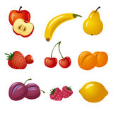 Fruits and berries icon set Stock Photo