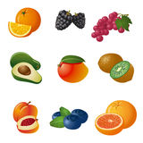 Fruits and berries icon set Royalty Free Stock Images