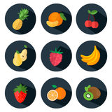 Fruits and berries Icons in flat style. Set of food icons with long shadows. Vector illustration Stock Photo