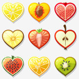 Fruits and berries icons network in the form of heart Royalty Free Stock Photo