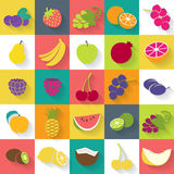 Fruits and berries icons set. Stock Image