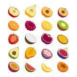 Fruits and berries icons set. Flat style, vector illustration. Flat style, vector illustration Royalty Free Stock Images