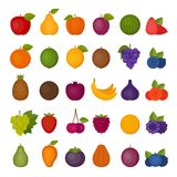 Fruits and berries icons set. Flat style, vector illustration. Flat style, vector illustration Stock Image