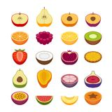 Fruits and berries icons set. Flat style, vector illustration. Flat style, vector illustration Royalty Free Stock Photo