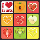 Fruits and berries icons set.I love fruits Stock Photography