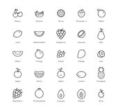 Fruits and berries icons set. 25 items. Black color. vector illustration