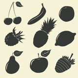 Fruits and berries icons - vector illustration Stock Images