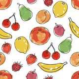 Fruits and berries. Imitation of watercolor. Seamless pattern in doodle and cartoon style royalty free illustration