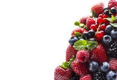 Fruits and berries isolated on white background. Ripe currants, raspberries, blueberries,  strawberries and blackberries with a mi. Nt leaf. Sweet and juicy Royalty Free Stock Image