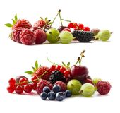 Fruits and berries isolated on white background. Ripe currants, raspberries, cherries, strawberries, gooseberries, mulberries and. Bilberries. Background of mix royalty free stock photo