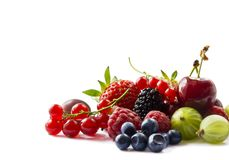 Fruits and berries isolated on white background. Ripe currants, raspberries, cherries, strawberries, gooseberries, mulberries and. Bilberries. Background of mix stock image