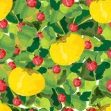 Fruits, berries and leaves seamless pattern. A vector illustration of variety of leaves, apples and red berries, summery seamless pattern Royalty Free Stock Image